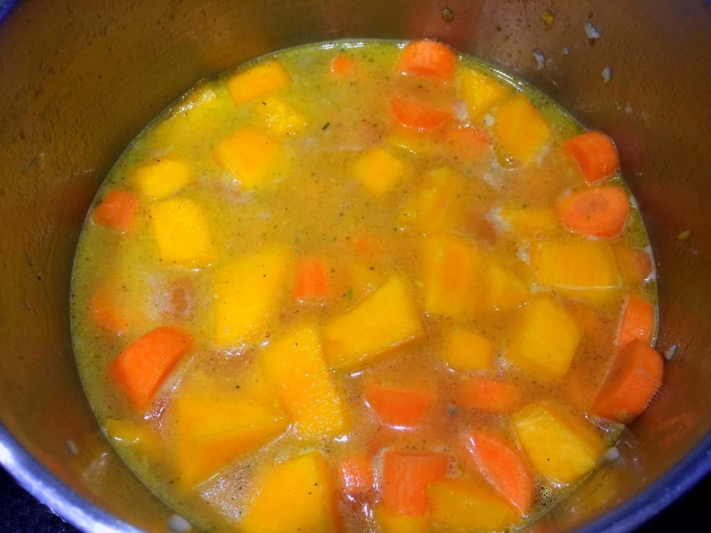 pompoen en wortel gekookt