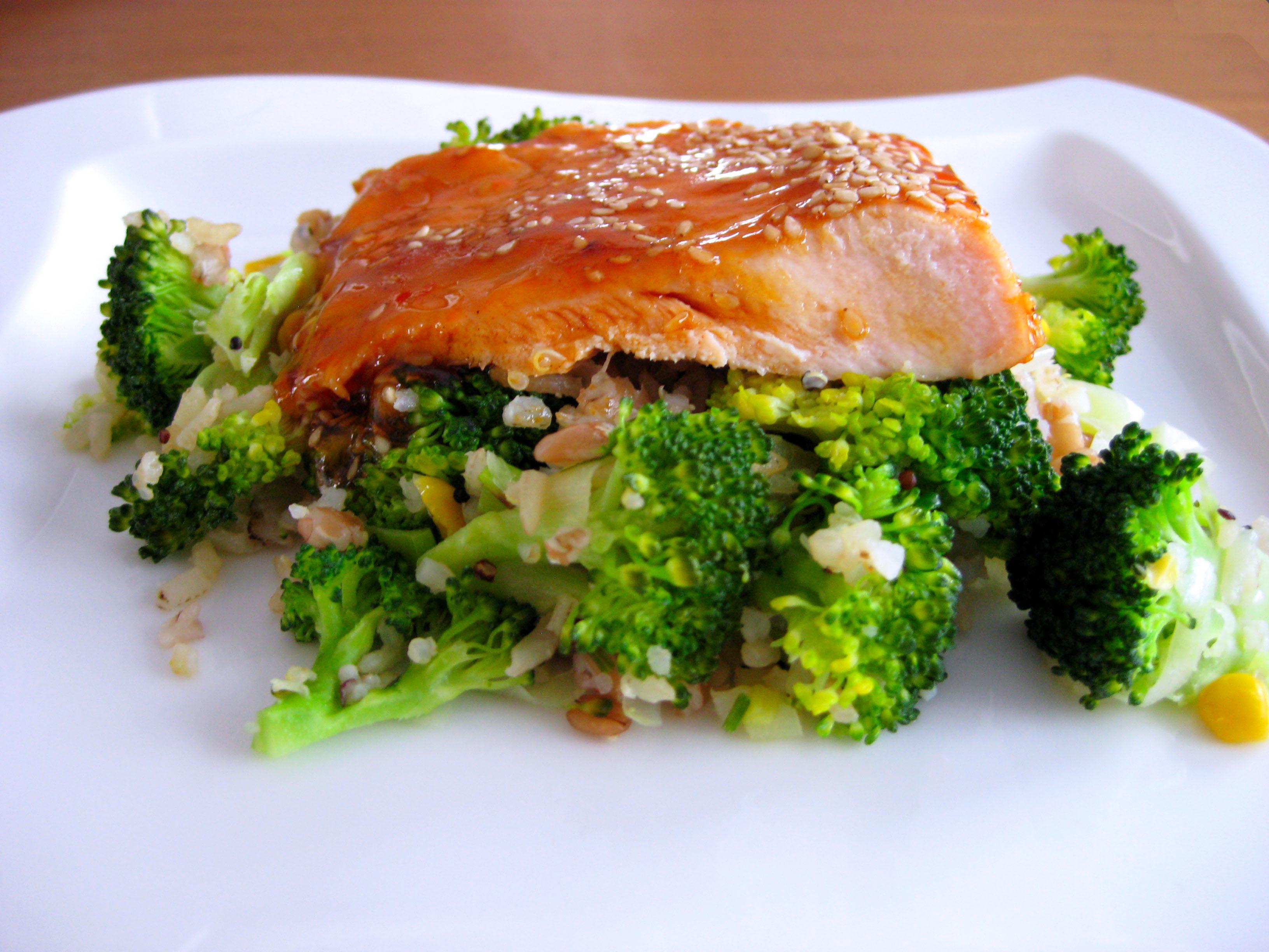 zalm, brocoli en rijst